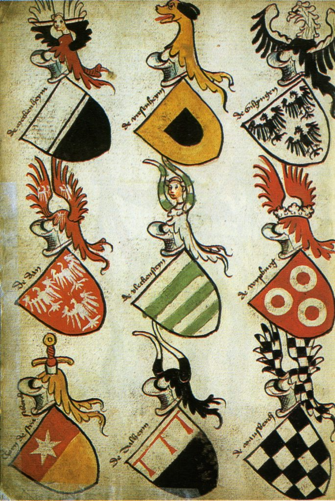 15th century German coats of arms. Via Wikipedia.